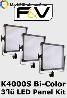 F&V K4000S Bi-Color 3'lü LED Panel Işık Seti Image